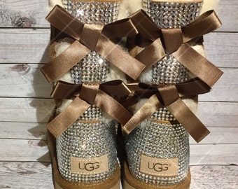 Bling UGG boots - crystal UGG boots - sparkly ugg boots - womans ugg boots - custom UGG boots - bling Chestnut ugg boots - tan ugg boots