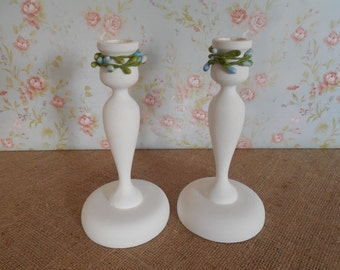 Wood Candle Holders / White Candle Holders / Vintage Wood Candlesticks / Cottage Chic / Taper holders