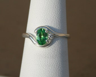 Chrome Tourmaline and Genuine Diamond Ring October Birthstone Ring Size 6 Sterling Silver