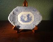 Antique China, English Cottage Staffordshire BLUE TRANSFERWARE PLATTER, Under Plate, Spartan, Vintage Decor