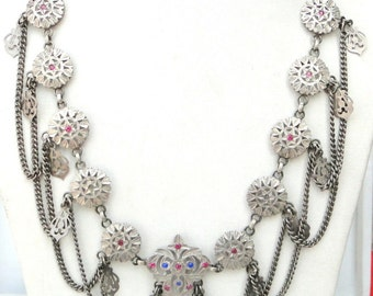 Rare Antique Belly Dance Ethnic Tribal Old Silver Jewelry Necklace Pendant India