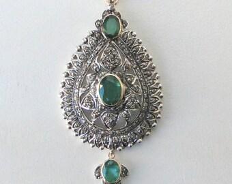 Victorian Diamond Emerald 14 K Gold Silver Pendant Amulet Necklace