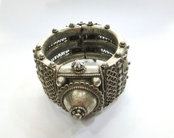 Rare! antique ethnic tribal handmade old silver hinge Bracelet bangle