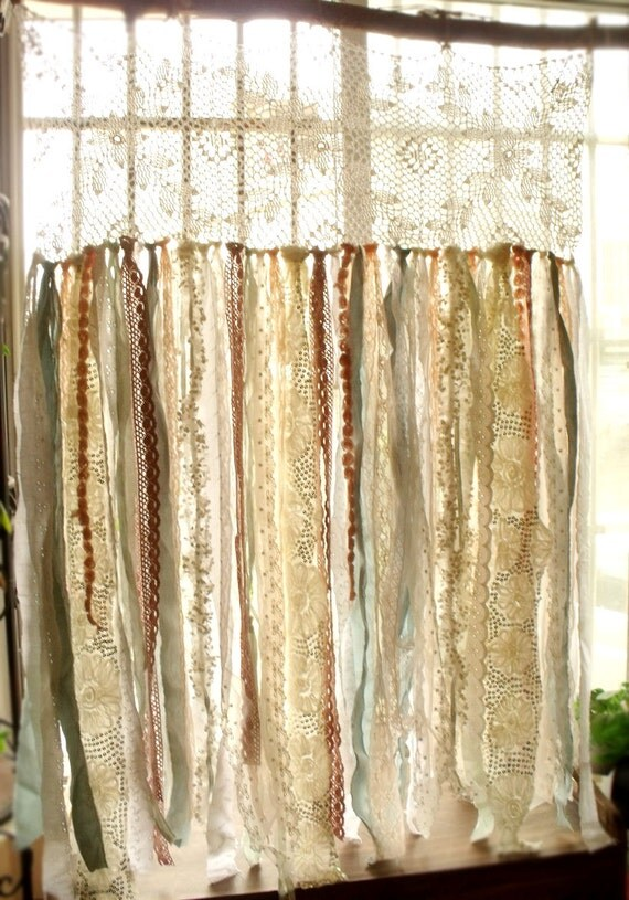 Boho rag curtain Vintage Lace Mint peach pink by ...