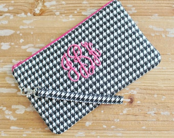 Monogrammed Houndstooth Clutch/ Wristlet - Iphone/Cell Phone Wristlet - Crossbody Option