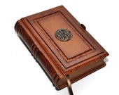 Brown leather journal antique style 8.1''x5.3'' (20,5x13,5 cm)