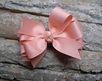 Little 3 inch Petite Sweet Ballet Pink Seashell Grosgrain Hair Bow Toddler Baby Girl Small bow