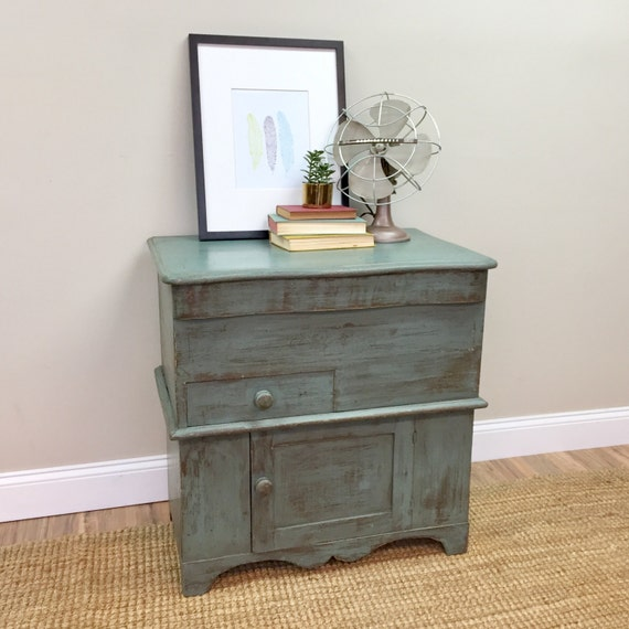 Antique Storage Cabinet - Primitive Cabinet - Bathroom Cupboard - Farmhouse Nightstand - Side Table with Storage - Small Storage Cabinet