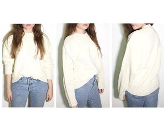Vintage ivory white chunky sweater pullover ribbed cable knit sweater size large