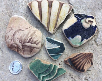 ENGLISH SEAGLASS - Group of  different Sized Beach Found Craft Grade Textured Patterned Pottery Shards