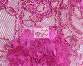 Cherry Blossom 3D Dress Lace Fabric - FUCHSIA - Sold By The Yard Prom Evening Dress Lace Decor Accessories Flowers