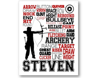 Archery Typography Poster, Gift for Archer, Archery Art Print, Archery Team Gift, Archery Gift, Archery Team Gift, Archery Coach Gift