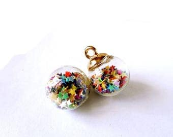 2 Clear Glass Vial/Bottle Pendants With Multicolored Stars - 30-26