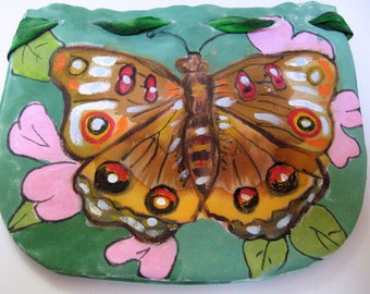 Small purse accessory- Butterfly- Handpainted silk- one of a kind -Jewelry purse- Unique gift woman- made in NY Hudson Valley