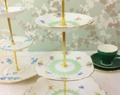 Hand Painted Art Deco 3 Tier Cake Stand