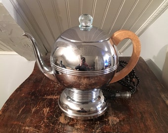 1940s Vintage 1950s Manning Bowman Art Deco Retro Percolator Coffee Pot Chrome With Wood Handle Complete & Working