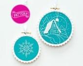 PDF Embroidery Pattern, Snowflake Ornament, Christmas Ornaments, Hanukkah ornament, Art Deco, Chanukah gift, Holiday Gift, Xmas Embroidery