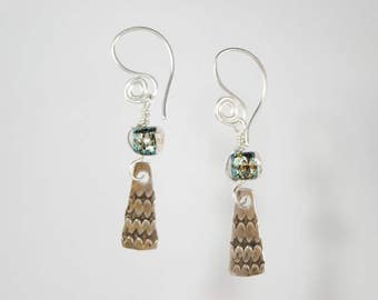 The Pacifik Image's Goodwin and Maxwell Recycled lampwork glass beads and sterling silver stamped earrings.  Ship free and made in USA.