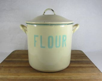 enamel flour bin England 1940s green vintage kitchen shabby chic farmhouse decor