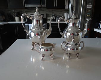 Sheridan Silver Co Silverplate Coffee and Tea Set with Creamer and Sugar - Classic Elegance - Silverplate Tea and Coffee Set