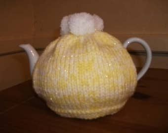 Hand Knitted Yellow & White Sparkling Tea Cosy For A 2 Pint Teapot