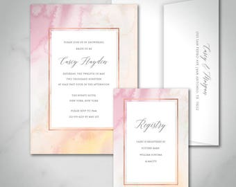Casey Bridal Shower Invitation   Custom Printed   Printable Digital Download DIY Invitation Wedding Shower Invitation   Watercolor Pastel