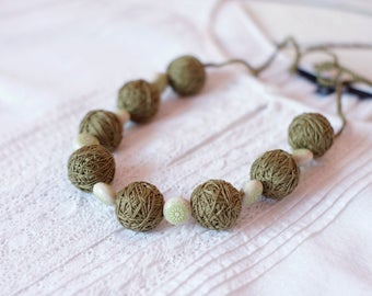 green long necklace beads of a thread cotton for women textile natural boho