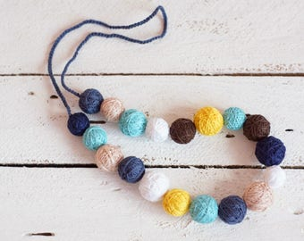 textile necklace spring girls necklace balls thread cotton for women fiber natural summer colorful