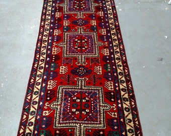 1970s Hand-Knotted Ardabil Persian Rug Runner (3490)