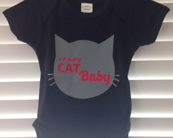 Crazy Cat Baby Onesie // Crazy Cat Baby Bodysuit