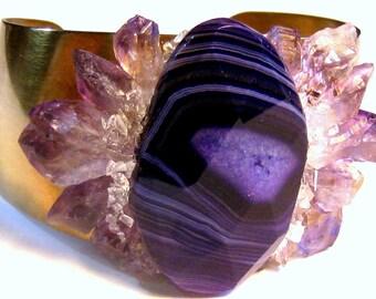 Amethyst Bracelet, Statement Jewelry, Bohemian Bracelet, Gemstone Bracelet, Cuff Bracelet, Crystal Bracelet, Purple Bracelet