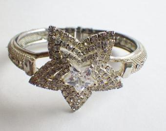 Vintage Rhinestone Star Clamper Bracelet