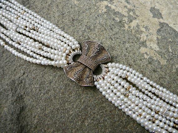 Theodor Fahrner Brooch Bracelet, Repurposed Fahrner Jewelry, Gemstone Bracelet, Multi Strand Freshwater Pearls, Deco Bracelet