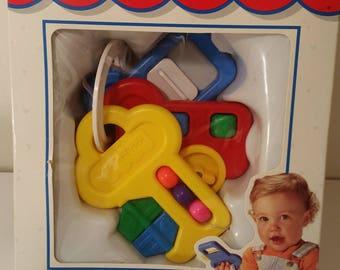 Vintage Fisher Price Activity Keys NOS Original Box 3 Plastic Teething Keys 90's Baby Toy Vintage Newborn Baby Gift 1990s