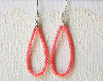 Salmon Pink Bamboo Coral Summer Earrings with Sterling Silver French Ear Wires