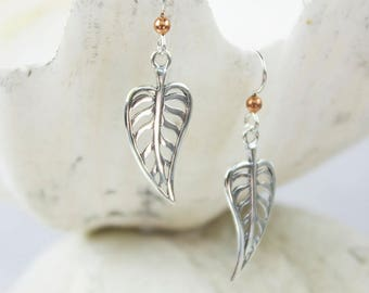 Sterling Silver Leaf Vein Earrings with Copper Ball Accent and French Ear Wires