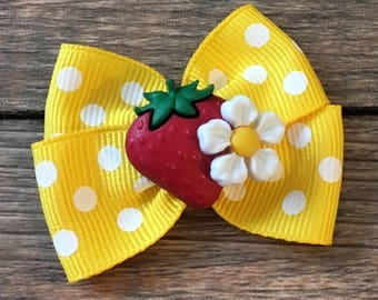 Strawberry Infant or Dog Bow-Strawberry Hair Bow-Strawberry Dog Bow-Strawberry Baby Bow-Strawberry Festival Hair Bow-Strawberry Picking Bow