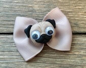 Cute Pug Infant or Dog Hair Bow-Tiny Pug Hair Bow-Tiny Pug Hair Clip-Pug Dog Bow-Pug Baby Bow-Googly Eye Pug Bow-Tiny Pug Baby
