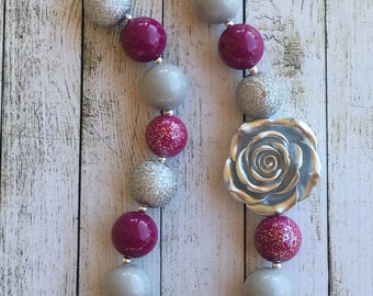 Grey Silver and Fuchsia chunky beaded necklace
