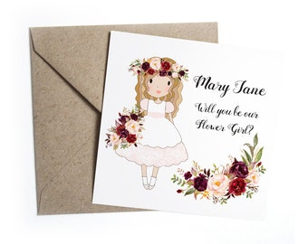 Will You Be My Flower Girl Card - Personalised Red Rose Floral Wedding, Flower Girl, Bridesmaid, Page Boy, Usher