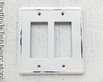 Light Switch Plate Electrical Plug Outlet Cover GFI Double Rocker Shabby Chic White Cottage Farmhouse Square Painted Resin ITEM DETAIL Below