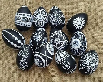 Hand Painted Black and White Artisan Decor Eggs Ornament Eggs Easter Eggs Pysanky Inspired Egg Designs