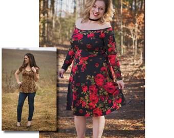 Mama Cassie Peplum, Mini & Dress PDF Sewing Pattern Sizes