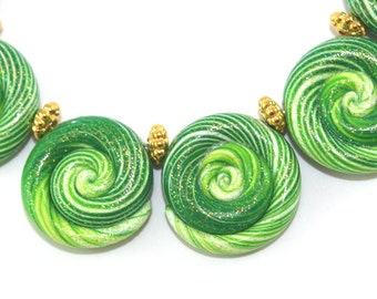 Ombre artisan clay beads for Jewelry making, 6 color gradient spiral beads, strips Ombre beads, green glitter polymer clay beads