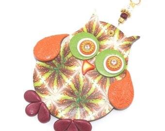 SPRING SALE Wall decor owl, polymer clay elegant owl, a single owl in maroon, green, orange, gold and red, nursery owl decor