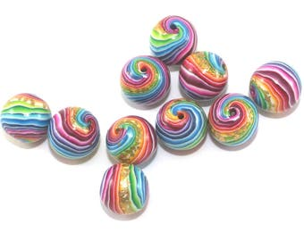 Stripes beads, round beads for jewelry making, beads in rainbow colors, craft supplies, set of 10 colorful polymer clay beads with gold leaf