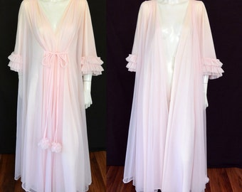 ON SALE Claire Sandra by Lucie Anne Beverly Hills Pink Peignoir Robe w Pom Pom Poms with RARE Ruffle Rumba Sleeves