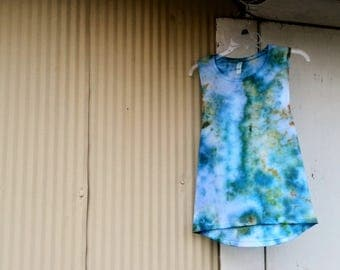 Tie Dye Muscle Tank // Lavender, Blue, Green, & Gold // Tie Dye Tank // Bella + Canvas Women's Flowy Muscle Tank