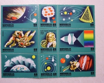 1977 Mongolia Sheet of 9 Stamps, Mint, MNH, Sir Isaac Newton Space Exploration, Scott # 951