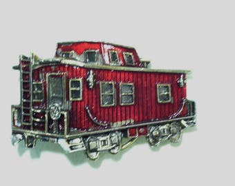 Vintage 1979 Red Train Caboose Enamel Belt Buckle, The Great American Buckle Co, USA